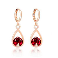 Deep Red or Bridal Crystal White Tear Drop Cubic Zirconia Hoop Earrings E1167