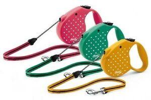 Leash Retractable Flexi Dots S Rope Yellow 5METRES 12 KG Max