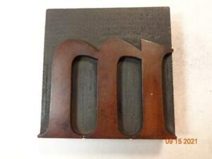 Printing Letterpress Printer Block Antique Wood Letter M