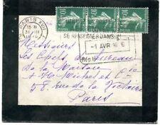 lettre de France affranchie de 3 Semeuse N°159 de 1926