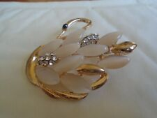 Swan Brooch With White Stone's