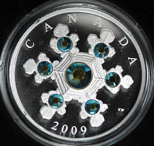 Canada 2009 $20 Blue Crystal Snowflake Silver Proof -Original Box with Papers