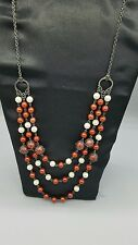 Dark red and white pearl type beaded multi strand necklace free shipping