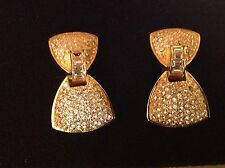 Earrings Christian Dior Gold Tone Bow Shaped Dangling Rhinestones NICE BLING!!!!