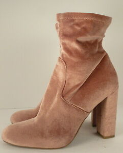Steve Madden Mauve Blush Pink Velvet Mid Calf Heel Boots EDIT Women's Shoes 9