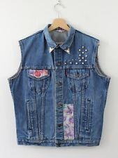 V88 Vtg Levi Strauss Women 90s Denim Jean Trucker Jacket Biker Vest Blue Size XL