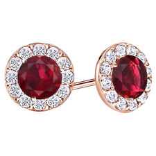1/2 Cttw Round Cut Ruby & White Topaz Halo Stud Earrings 14K Solid Rose Gold