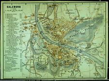 SALZBURG, alter farbiger Stadtplan, datiert 1900