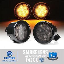 Opar Front Smoked Lens Amber Turn Signal Lights for 07-18 Jeep Wrangler JK 2/4Dr
