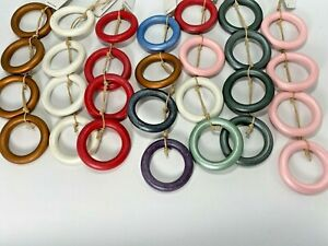 Wooden Rings Craft Mix Color Size Wood Loop Wooden Ring Circle for Jewelry 50 pc