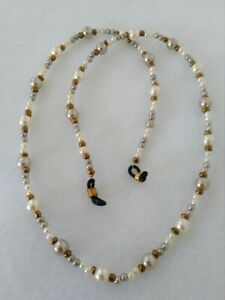 White / Light Smoked Pearl Eyeglass Holder Chain Necklace