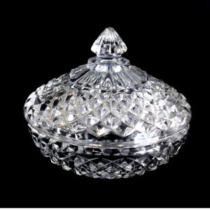 Vintage Pressed Glass Candy Dish Diamond Pattern & Finial lid