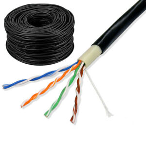 External Cat 6 Outdoor Network Cable UTP 4Pair 23AWG Ethernet LAN Lead Black Lot