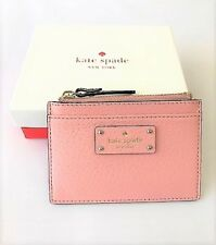 KATE SPADE Adi Grove Street Leather Card/Coin Case  Mini Wallet PinkBonnet NWT