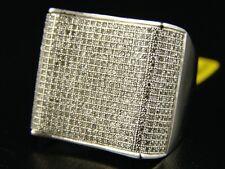 Mens White Gold Genuine Diamond Pinky Xxl Ring 2.50 Ct