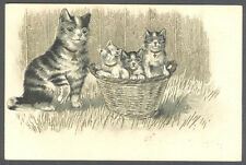 Cats, Little Cats in a Basket with Their Mother, Funny Old Embossed Postcard