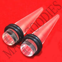 0626 Clear Acrylic Stretchers Tapers Expanders 0G 0 Gauge 8mm MallGoodies 1 Pair