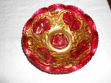"""Goofus glass double red rose bowl  9"""""""