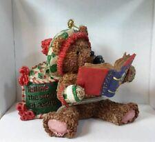 Christian Inspirations Teddy Bear Reading A Book Christmas Holiday Ornament NIB