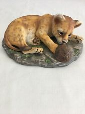 Tiger Cub and Turtle Masterpiece Porcelain Vintage Home Interiors Homco