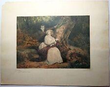 Lithographie de Devéria, Couple dans un bois