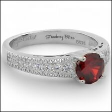SHINY CANDY RING Red Sophisticated Strawberry Sterling Silver/White Gold Plated