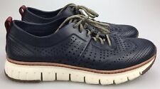 Cole Haan ZERØGRAND Laser Perforated Wingtip Sneaker Marine Blue Leather Men 13M