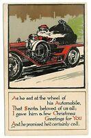 Art Deco~Santa Claus in Car~Arts & Crafts~Antique Christmas Postcard Gold-a958