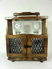 Vintage Decanter Set in Wood Carrier Bourbon Scotch