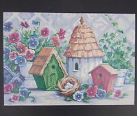 Paint By Number Painting Bird Houses Flowers Nest Eggs Country Garden Shed Decor