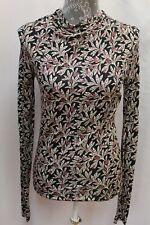 NEW Isabel Marant Etoile Ruched Print Blouse Draped Turtleneck Top 38 S M