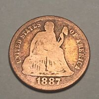 1887 S Seated Liberty Silver Dime Nice Details Filler Type Coin
