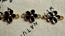 Flower connector black gold & enamel 3 charms jewellery supplies C464