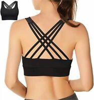 Double Couple Strappy Sports Bra for Women Crisscross Back, Black, Size Large ZD