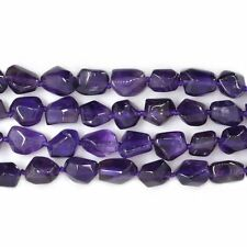 0119  Faceted natural amethyst Nuggets loose beads knotted strand 16""