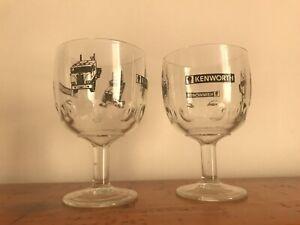2x Vintage 1970s KENWORTH TRUCK Dealership Promo Spirits Glass W900 500 Series ?
