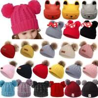 Baby Boys Girls Double Pom Pom Hat Bobble Beanie Winter Warm Newborn Knitted Cap