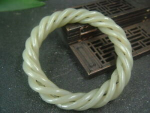 Chinese Antique Nephrite HE TIAN Jade bangle 4-Twisted wire Bracelet QING DY.