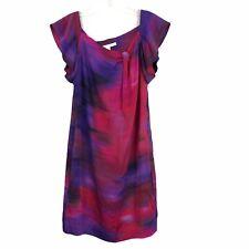 Diane von Furstenberg Womens Dunn Dress 10 Sheath Silk Short Sleeve Purple Pink