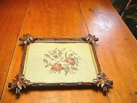 Wonderful Antique Victorian Black Walnut Picture Frame with Floral Needlepoint
