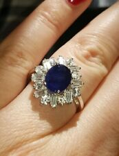 3.6ct Genuine Blue Sapphire Ring in Sterling Silver