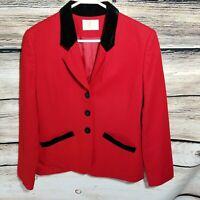 Pendleton Womens Size Small Medium Red Virgin Wool Blazer Jacket