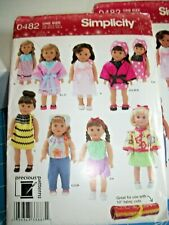 "Simplicity 0482 doll clothes  for 18"" doll pattern  UNCUT"