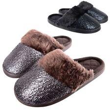 Ladies Sparkle Slip On Mule Slippers Black / Brown Soft Plush Lining Hard Soles
