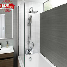 Chrome Bath Shower Mixer Tap With 3 Way Square Rigid Riser Rail Kit *C