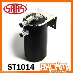 SAAS OIL CATCH TANK 4X4 BAFFLED BLACK BILLET 500ML ALUMINUM INTERNAL CC ST1014