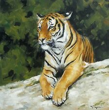 Original Oil painting - wildlife art - big cat - tiger portrait - by j payne