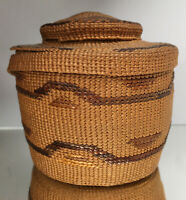 FINE NW Coast Tlingit Rattle Top Basket Native American Lidded Antique 19th C.