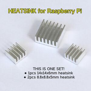 3 Pcs Set Silver Adhesive Aluminum Heatsink Cooler Cooling Kit for Raspberry Pi