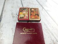 Vintage Caspari Imported Playing Cards Fruit & Flower Piece 2 Decks w/ Box